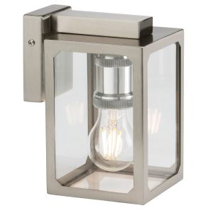 Knightsbridge 230V IP23 E27 Wall Lantern - Brushed Chrome