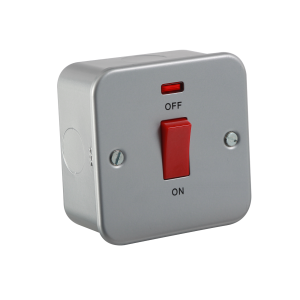 Metal Clad 45A DP Switch with Neon - Single Size-M8331N-Knightsbridge
