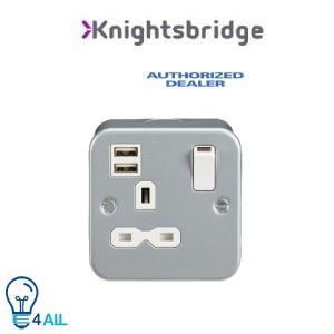 Knightsbridge Metal Clad 13A 1G Switched Socket with Dual USB Charger (2.4A) MR9124