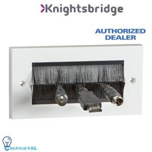 NETBRUSH4G Brush Outlet Cable Entry Wall Plate AV TV Double 2 Gang Letterbox