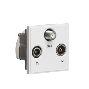 Triplexed TV /FM DAB/ SAT TV Outlet Module 50 x 50mm-NETTRI-Knightsbridge