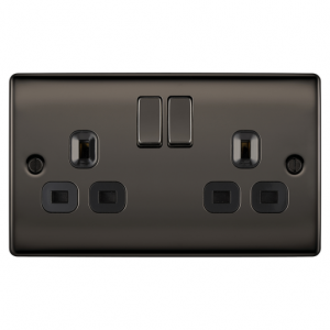Newlec Screwed Raised Edge Double 13A DPd Switched Socket black Nickel