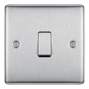 Newlec 1 Gang Intermediate Raised Edged Plate Switch 10A Brushed Steel