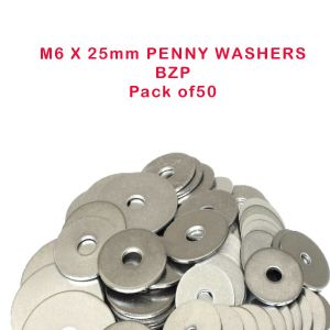 M6 X 25 ZINC & CLEAR PENNY MUDGUARD WASHER PACK OF 50