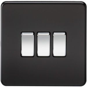 Knightsbridge Screwless 10AX 3G 2-Way Switch - Matt Black with Chrome Rocker