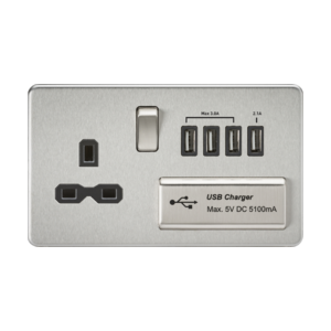 Screwless 13A switched socket with quad USB charger (5.1A)-SFR7USB4-Knightsbridge