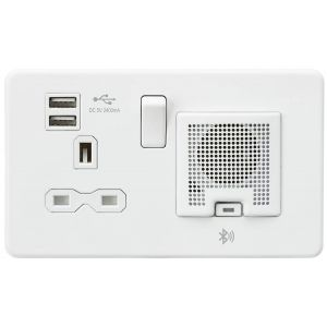 Screwless 13A socket, USB chargers (2.4A) and Bluetooth Speaker - Matt white