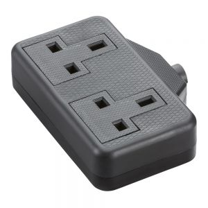 Knightsbridge 13A 2G trailing socket - black SN2014B