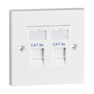 Twin CAT5e Flush Mounted Socket-SX7052WH-Knightsbridge