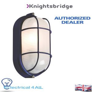 Title:  Knightsbridge IP54 OVAL BULKHEAD - BLACK c/w WIRE GUARD & GLASS DIFFUSER TPOV60B