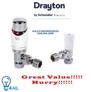 Drayton TRV4 15mm Angled, White and Chrome