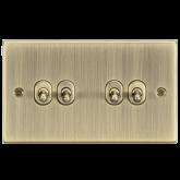 10A 4G 2 Way Toggle Switch - Square Edge Antique Brass-CSTOG4AB-Knightsbridge