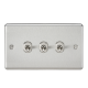 10A 3G 2 Way Toggle Switch - Rounded Brushed Chrome Finish-CLTOG3BC-Knightsbridge