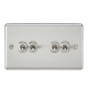 10A 4G 2 Way Toggle Switch - Rounded Brushed Chrome Finish-CLTOG4BC-Knightsbridge
