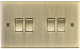 10A 4G 2 Way Plate Switch - Square Edge Antique Brass-CS41AB-Knightsbridge