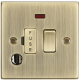 13A Switched Fused Spur Unit with Neon & Flex Outlet - Square Edge Antique Brass-CS63FAB-Knightsbridge