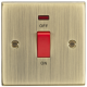 45A DP Switch with Neon (single size) - Square Edge Antique Brass-CS81NAB-Knightsbridge