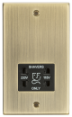 115-230V Dual Voltage Shaver Socket with Black Insert - Square Edge Antique Brass-CS89AB-Knightsbridge