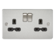 Knightsbridge Flat plate 13A 2G Double Pole switched Socket FPR9000