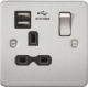 Flat plate 13A 1G switched socket with dual USB charger (2.1A)-FPR9901-Knightsbridge