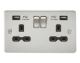 Flat plate 13A 2G switched socket with dual USB charger (2.1A)-FPR9902-Knightsbridge