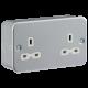Metal Clad 13A 2G Unswitched Socket-MR9000U-Knightsbridge