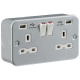 Metal Clad 13A 2G Switched Socket with Dual USB Charger 5V DC 2.1A (shared)-MR9000USB-Knightsbridge