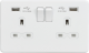 Screwless 13A 2G switched socket with dual USB charger (2.1A)-Matt  White-White insert
