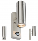 Knightsbridge 230V IP44 2 X GU10 Stainless Steel Up/Down Wall Light with PIR