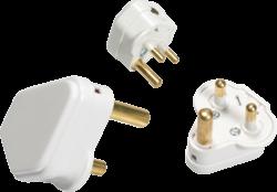 5A Round Pin Plug Top - White-135A-Knightsbridge