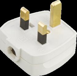 13A Plug Top 5A Fused - Screw / Cord Grip-White-1381-Knightsbridge