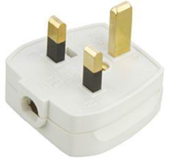 13A Plug Top 3A Fused - Screw / Cord Grip - White-1382-Knightsbridge