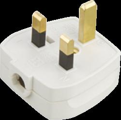 13A Plug Top 13A Fused - Screw / Cord Grip - White-1383-Knightsbridge