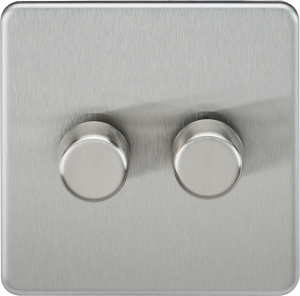 Screwless 2G 2-Way 40-400W Dimmer Switch-SF2182-Knightsbridge-Brushed chome