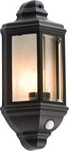 Knightsbridge IP33 60W Die-Cast Aluminium Clear Glass Wall lantern with PIR Sensor