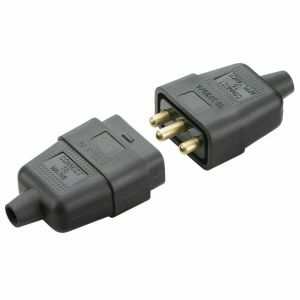 3 Pin 10 Amp In-line Mains Electric Cable Connector Plug Socket Black & White UK-BLACK -SN2121B