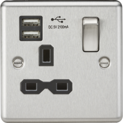 13A 1G Switched Socket Dual USB Charger Slots-CL91-Knightsbridge