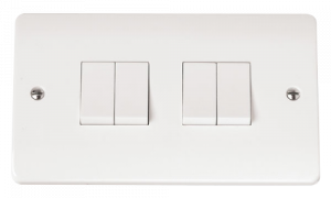 Click Plate Switch 4 Gang 2 Way 10 Amp White PVC