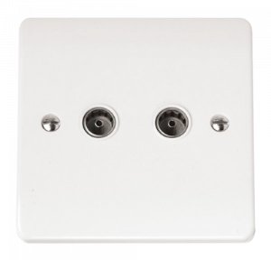 Click Mode Coaxial Socket Double Outlet CMA066 White Scolmore Mode UK