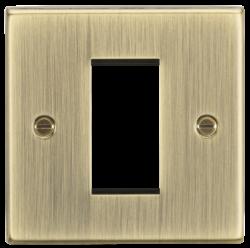 1G Modular Faceplate - Square Edge Antique Brass-CS1GAB-Knightsbridge