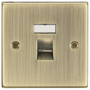Knightsbridge RJ45 Network Outlet - Square Edge Antique Brass
