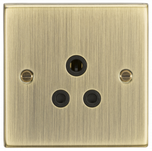 5A Unswitched Socket - Square Edge Antique Brass Finish with Black Insert-CS5AAB-Knightsbridge