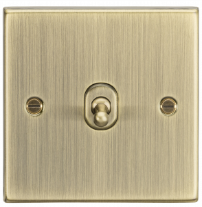 10A 1G 2 Way Toggle Switch - Square Edge Antique Brass-CSTOG1AB-Knightsbridge