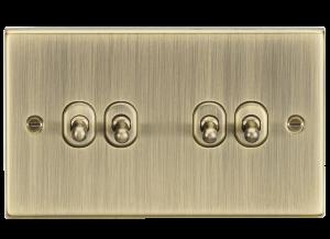 Knightsbridge 10AX 4G 2 Way Toggle Switch - Square Edge Antique Brass