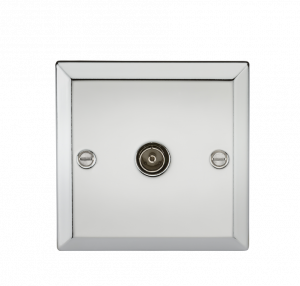 TV Outlet (non-isolated) - Bevelled Edge Polished Chrome-CV010PC-Knightsbridge