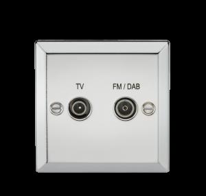 Diplex TV & FM DAB Outlet - Bevelled Edge Polished Chrome-CV016PC-Knightsbridge