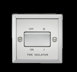 10A 3 Pole Fan Isolator Switch - Bevelled Edge Polished Chrome-CV11PC-Knightsbridge