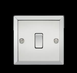 10A 1G Intermediate Switch - Bevelled Edge Polished Chrome-CV12PC-Knightsbridge