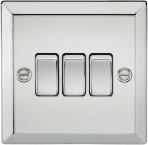 10A 3G 2 Way Plate Switch - Bevelled Edge Polished Chrome-CV4PC-Knightsbridge
