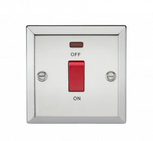 45A DP Switch with Neon (single size) - Bevelled Edge Polished Chrome-CV81NPC-Knightsbridge